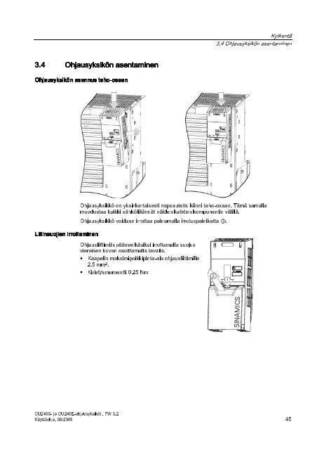 Ohjausyksiköt Käyttöohje • 08/2009 - Siemens