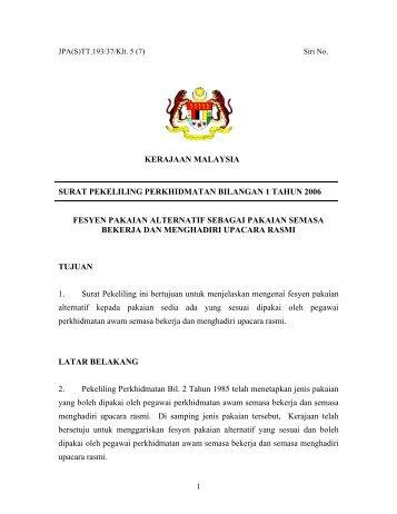 surat pekeliling perkhidmatan bilangan 1 tahun 2006 - JPA