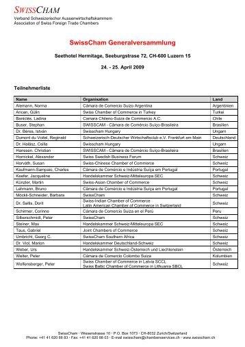 Participants List/Teilnehmerliste - SwissCham