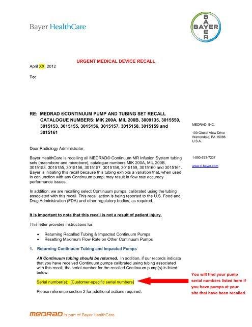 Continuum recall letter - Medrad