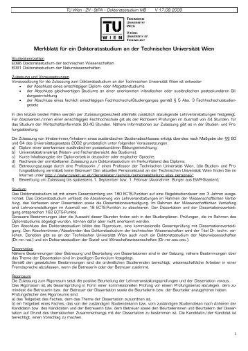 TU Wien - ZV - StPA – Doktoratsstudium MB