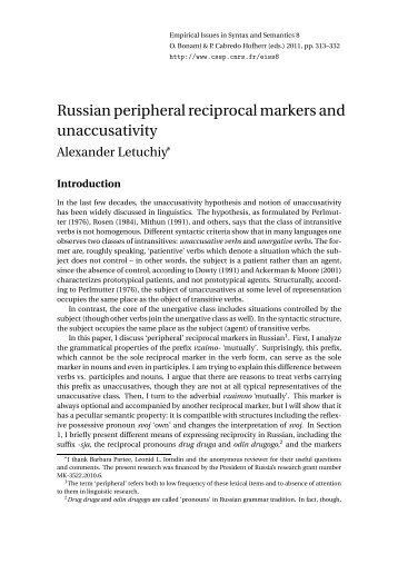 Russian peripheral reciprocal markers and ... - CSSP - CNRS