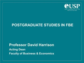 Professor David Harrison POSTGRADUATE STUDIES ... - Research