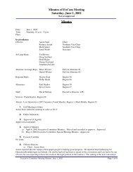 Minutes of ExCom Meeting Saturday, June 1, 2002 Minutes