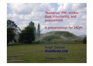 'Nuisance' PM: visible dust monitoring and assessment A ... - IAQM