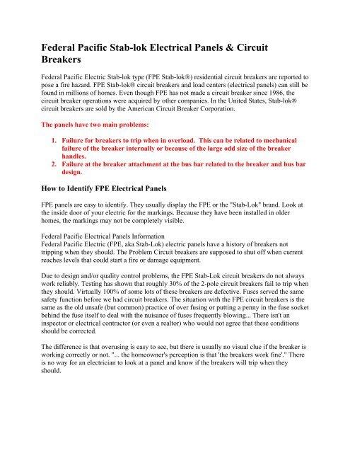 Federal Pacific Stab-lok Electrical Panels & Circuit Breakers on