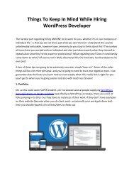 Things To Keep In Mind While Hiring WordPress Developer