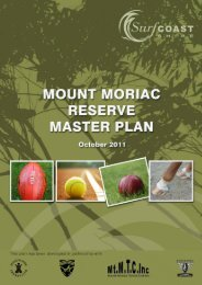 Mt Moriac Reserve Master Plan Report - 1 - - Surf Coast Shire