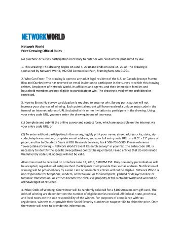 Network World Prize Drawing Official Rules