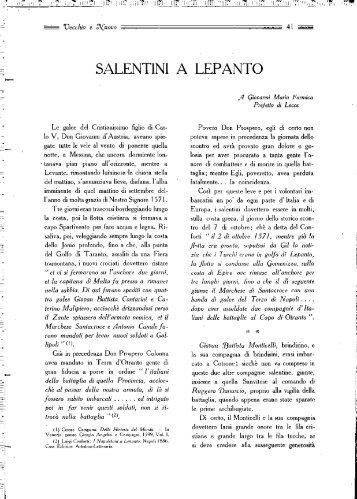 SALENTINI A LEPANTO - culturaservizi.it