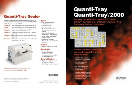 Quanti-Tray and Quanti-Tray/2000 Brochure - IDEXX Laboratories