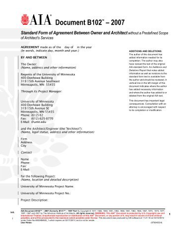 Exhibit B Attachment To Aia B101 2007 Ownerarchitect Agreement