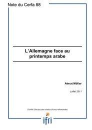 L'Allemagne face au printemps arabe - Dialogue d'avenir franco ...