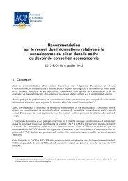 recommandation 2013-R-01 du 8 - Autorité de contrôle prudentiel