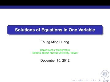Solutions of Equations in One Variable