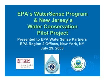 EPA's WaterSense Program & New Jersey's Water Conservation ...