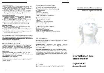 Staatsexamen im Fach Englisch (Flyer) - Institut für Anglistik ...