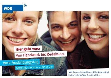 Postkarte zum WDR Ausbildungstag - Wdr.de