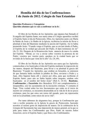 Homilía del día de las Confirmaciones San Estanislao ... - Sek Malaga