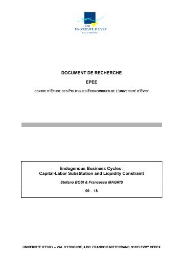 DOCUMENT DE RECHERCHE EPEE Endogenous Business Cycles