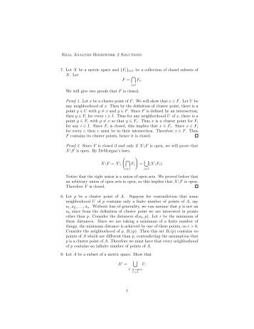 Real Analysis Homework 2 Solutions 7. Let X be a metric space and ...