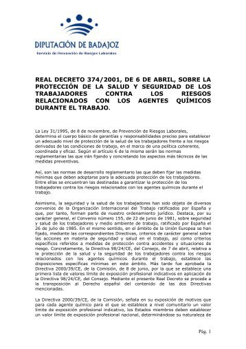 REAL DECRETO 374/2001, de 16 de abril