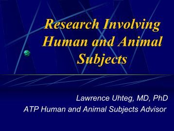 human and animal subjects - NIST Advanced Technology Program ...