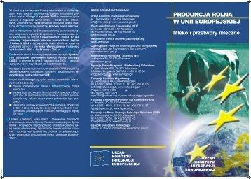 Produkcja rolna w Unii Europejskiej: Mleko i ... - Polska w UE