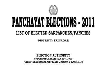 LIST OF ELECTED SARPANCHES/PANCHES