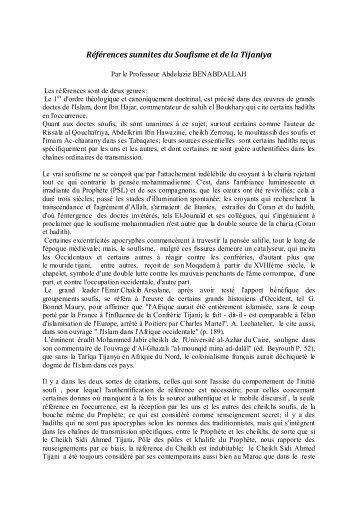 Références sunnites du Soufisme et de la Tijaniya