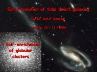 Early evolution of tidal dwarf galaxies - INAF-OAT Trieste Users site
