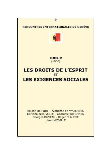 Les droits de l'esprit et les exigences sociales - Rencontres ...