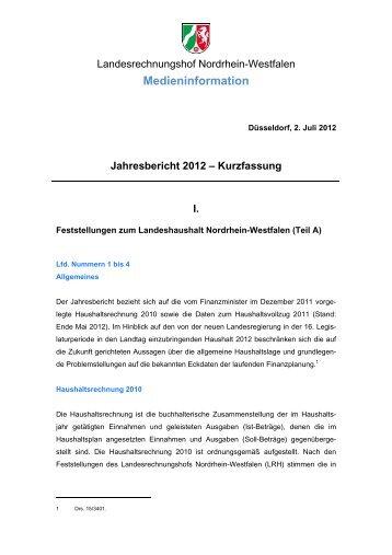 Jahresbericht 2012 - Landesrechnungshof des Landes Nordrhein ...