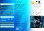 Faculty Development Programme on Advanced ... - VIT University