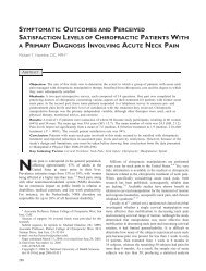 Acute neck pain study - Palmer College of Chiropractic, Intranet ...