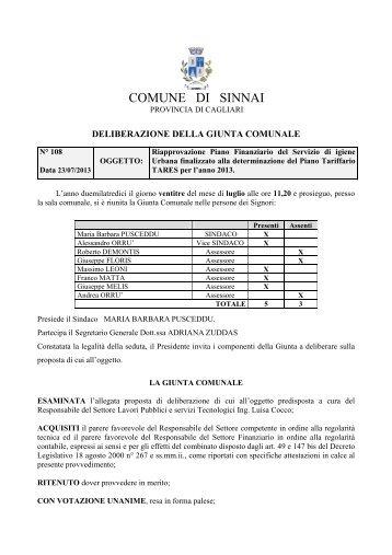 settore lavori pubblici e servizi tecnologici - Comune di Sinnai
