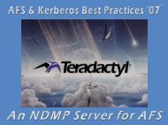 (NDMP) interface for the Andrew File System - AFS & Kerberos Best ...