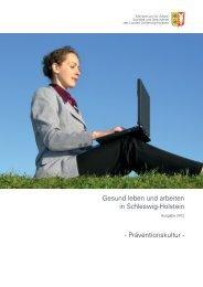 Gesund leben und arbeiten in Schleswig-Holstein - Präventionskultur -