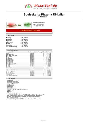 Pizzeria Ri-Italia in 59439 Holzwickede, August-Borsig ... - Pizza Taxi