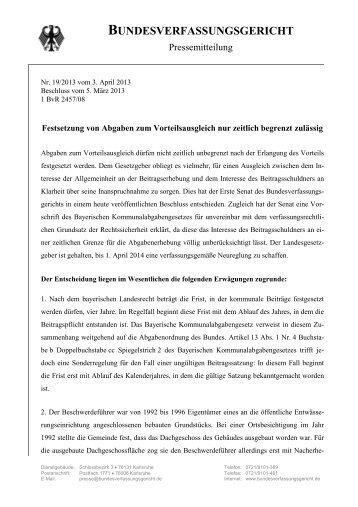 Pressemitteilung des Bundesverfassungsgerichts