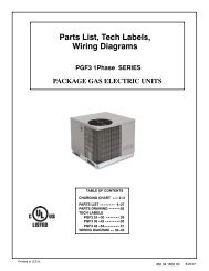 Parts List, Tech Labels, Wiring Diagrams PGF3 1Phase SERIES ...
