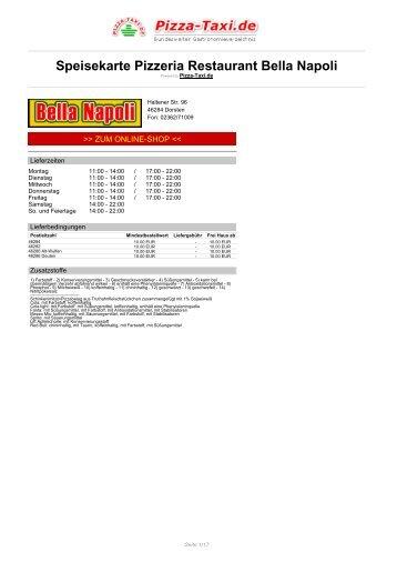 Pizzeria Restaurant Bella Napoli in 46284 Dorsten ... - Pizza Taxi
