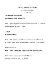 STORIA DEL CRISTIANESIMO Prof. Roberto Osculati a.a. 1999 ...
