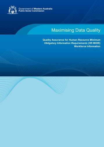 HR MOIR - Maximising Data Quality - Public Sector Commission