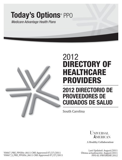 Directory Of Healthcare Providers 2012 Universal American