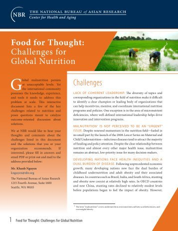 Challenges for Global Nutrition - Pacific Health Summit