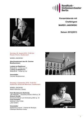 Konzerte mit Chefdirigent MAREK JANOWSKI