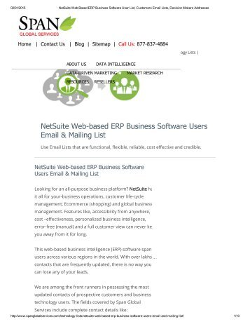 Upgrade your obsolete database to a verified and up-to-date email and mailing database with the Netsuite web based erp business software customer lists