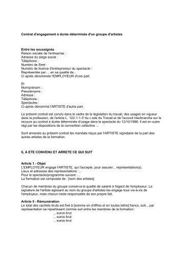 Contrat d'engagement à durée déterminée d'un groupe ... - La NACRe