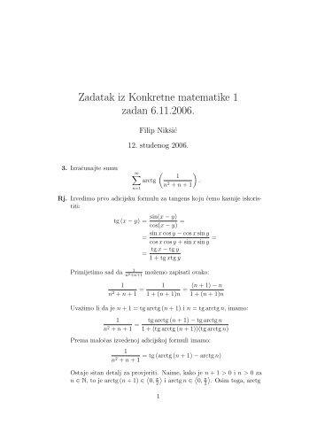 Zadatak iz Konkretne matematike 1 zadan 6.11.2006.